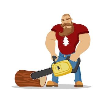 Leñador brutal hombre barbudo