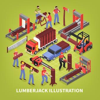 Leñador isométrico con aserraderos y camiones especiales para el transporte de madera.
