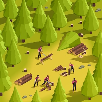 Leñadores cortando madera ilustración isométrica
