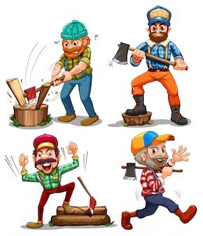 Leñadores trabajadores