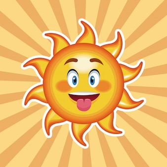 Lengua de sol de personaje con fondo rayado