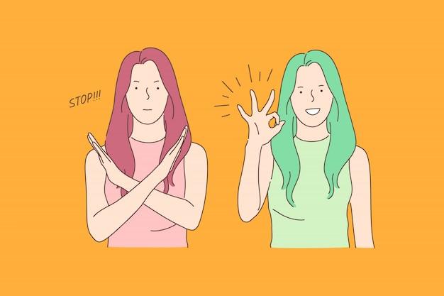 Lenguaje de señas, alto y ok, concepto de emociones opuestas