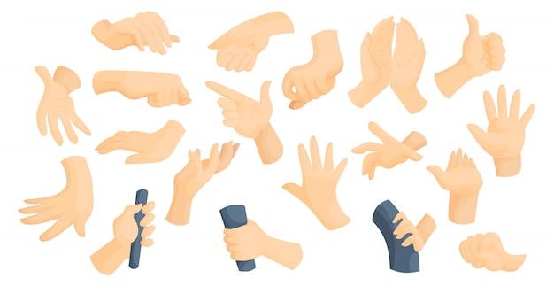 Lenguaje de señas idea planas manos gestos vector ilustración conjunto