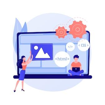Lenguajes de programación css y html. programación informática, codificación, informática. personaje de dibujos animados programador femenino. software, desarrollo de sitios web.