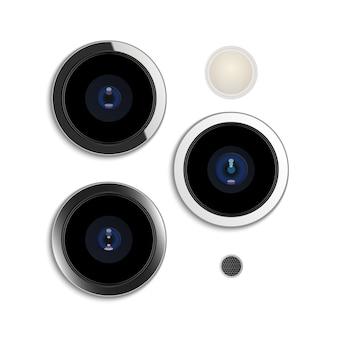 Lente de cámara realista en teléfono inteligente