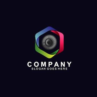 Lente óptica en el diseño de logotipos de tecnología.