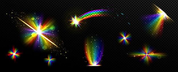 Lente de reflexión de destello de prisma de luz de cristal arco iris