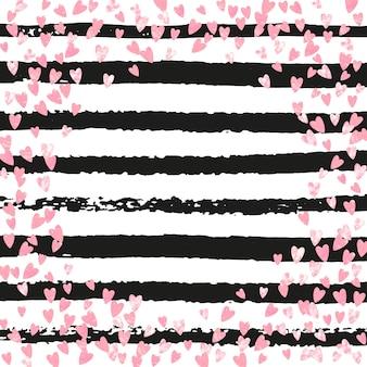 Lentejuelas de corazón. concepto de magia dorada. starburst dibujado a mano negro. diseño de guardería. elemento de salpicadura rosa. ilustración reluciente de rosa. 14 de febrero pintura. lentejuelas corazón rayas