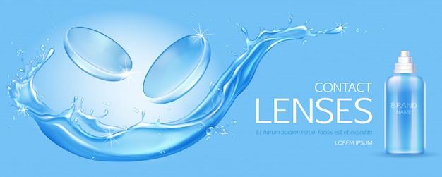 Lentes de contacto y botella de solución en salpicaduras de agua