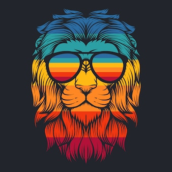 Lentes retro cool de león