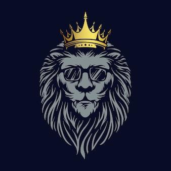 León animal dorado de lujo con ilustraciones del logotipo de gafas de sol