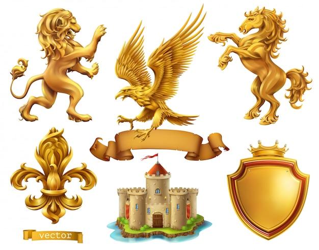 León, caballo, águila, lirio. elementos heráldicos dorados, conjunto de vectores