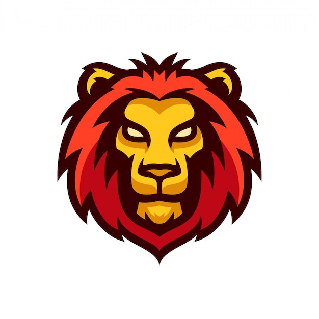León cabeza logo mascota plantilla vector illustration