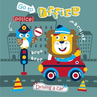 León conduciendo un coche divertidos dibujos animados de animales