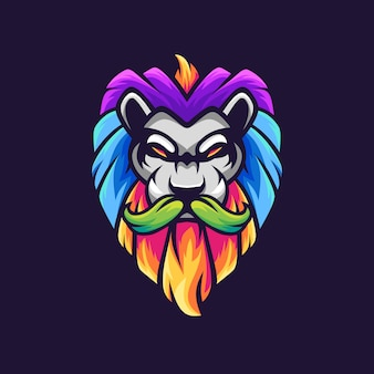 León con diseño de logotipo de mascota colorido bigote