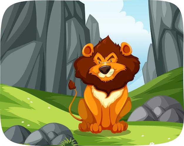 León en la escena de la naturaleza