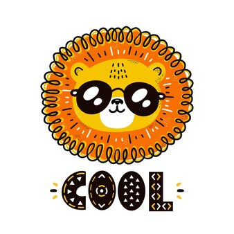 León fresco divertido lindo en carácter de gafas de sol