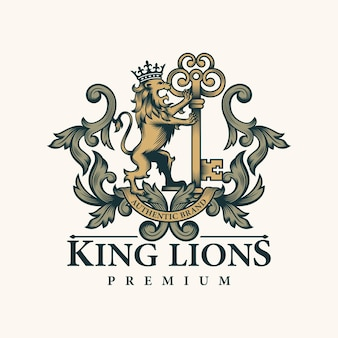 León heráldico y logo clave.
