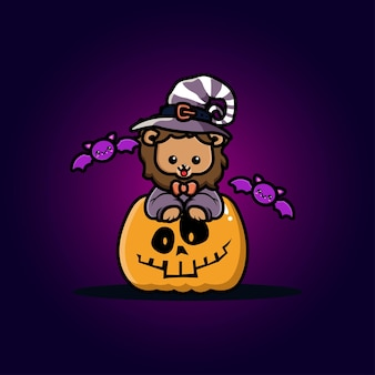 León lindo con dibujos animados de calabaza de halloween