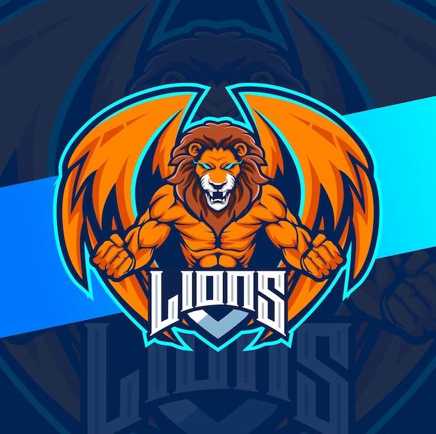 León luchador con alas logotipo de la mascota diseño de deportes mascota del juego