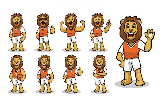 León con mascota de atuendo deportivo