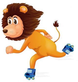 Un león patinando sobre hielo