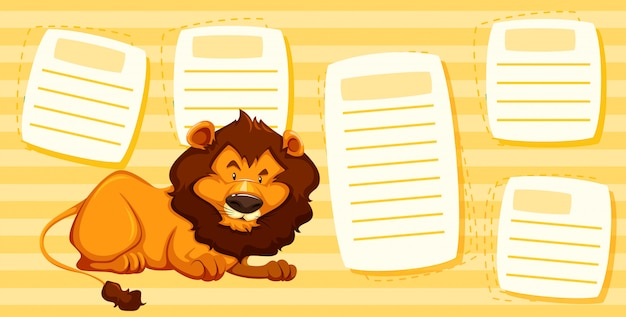 León en plantilla de nota
