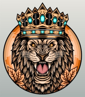 León rugiente con corona.