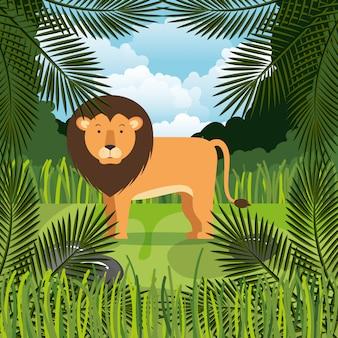 León salvaje en la escena de la selva