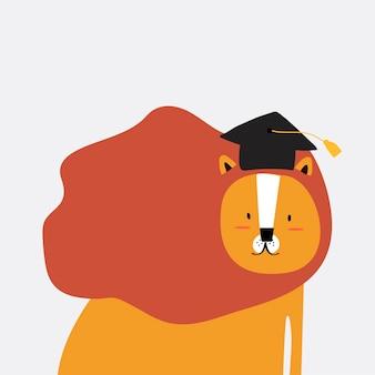 León en un vector de estilo de dibujos animados
