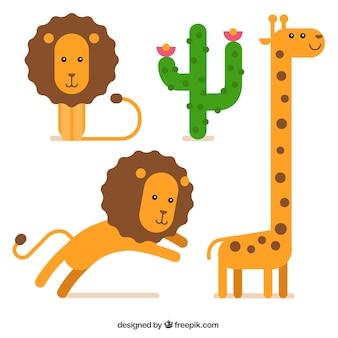 Leones y jirafa de dibujos animados