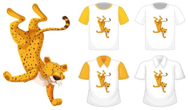Leopardo en posición de baile personaje de dibujos animados con muchos tipos de camisas sobre fondo blanco.