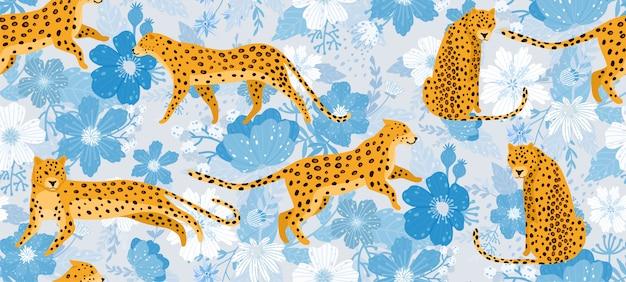 Leopardos rodeados de hermosas flores. textura inconsútil del modelo del vector elegante del verano en estilo de moda.