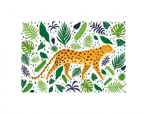 Leopardos rodeados de hojas de palmeras tropicales.