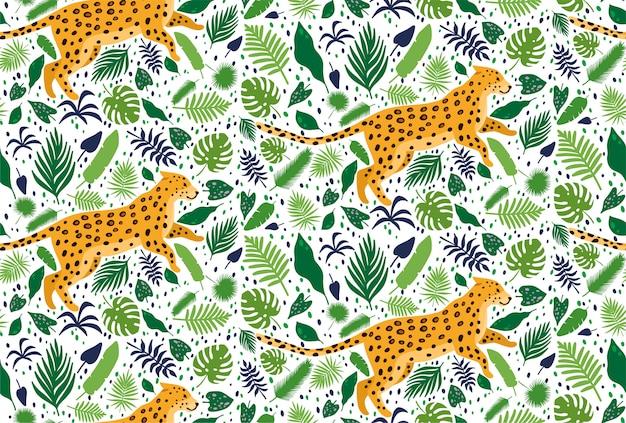 Leopardos rodeados de palmeras tropicales. patrón sin fisuras de verano elegante vector