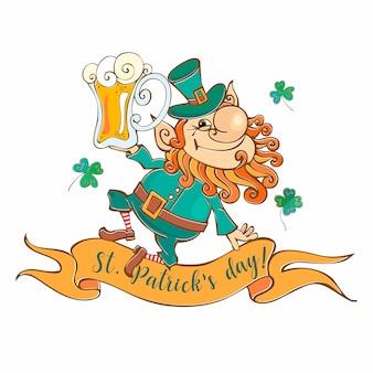 Leprechaun alegre con cerveza para el día de san patricio.