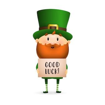 Leprechaun barbudo con cartel.