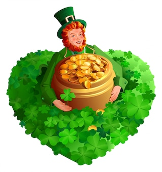 Leprechaun de gnomo rojo del día de san patricio sostiene una olla de monedas de oro en forma de corazón de trébol