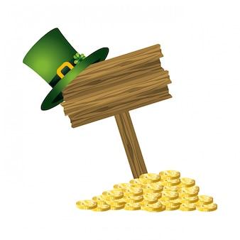 Leprechaun sombrero señal de tráfico fortuna
