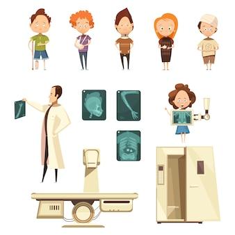 Lesión en los huesos rayos x colección de iconos de dibujos animados