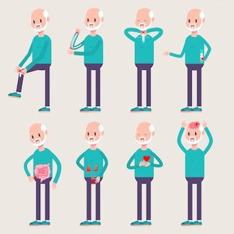 Lesiones y enfermedades de las personas mayores. conjunto de caracteres del viejo hombre de la historieta del vector aislado en fondo.