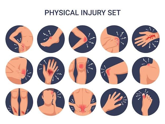 Lesiones físicas del cuerpo humano redondo conjunto plano con hombro rodilla dedo quemaduras cortadas heridas aisladas