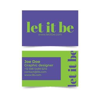Let it be plantilla de tarjeta de visita