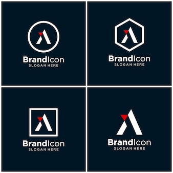 Letra a, aa diseño de logotipo