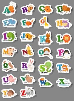 Letra del alfabeto animal az
