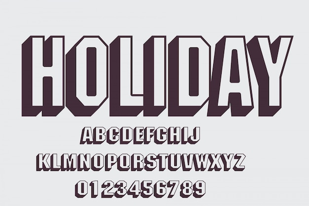 Letra y alfabeto modernos en negrita, tipografía, letras y números, tipografía.