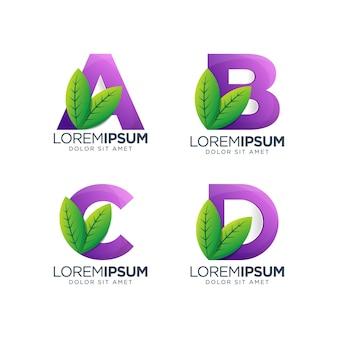 Letra a, b, c, d con diseño de logotipo de hoja