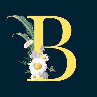 Letra b con flores