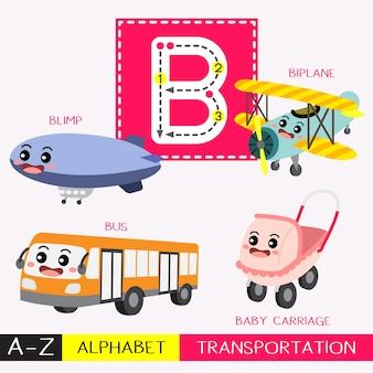 Letra b mayúscula de rastreo de vocabulario de transportes