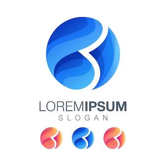 Letra b ronda plantilla de logotipo de color degradado